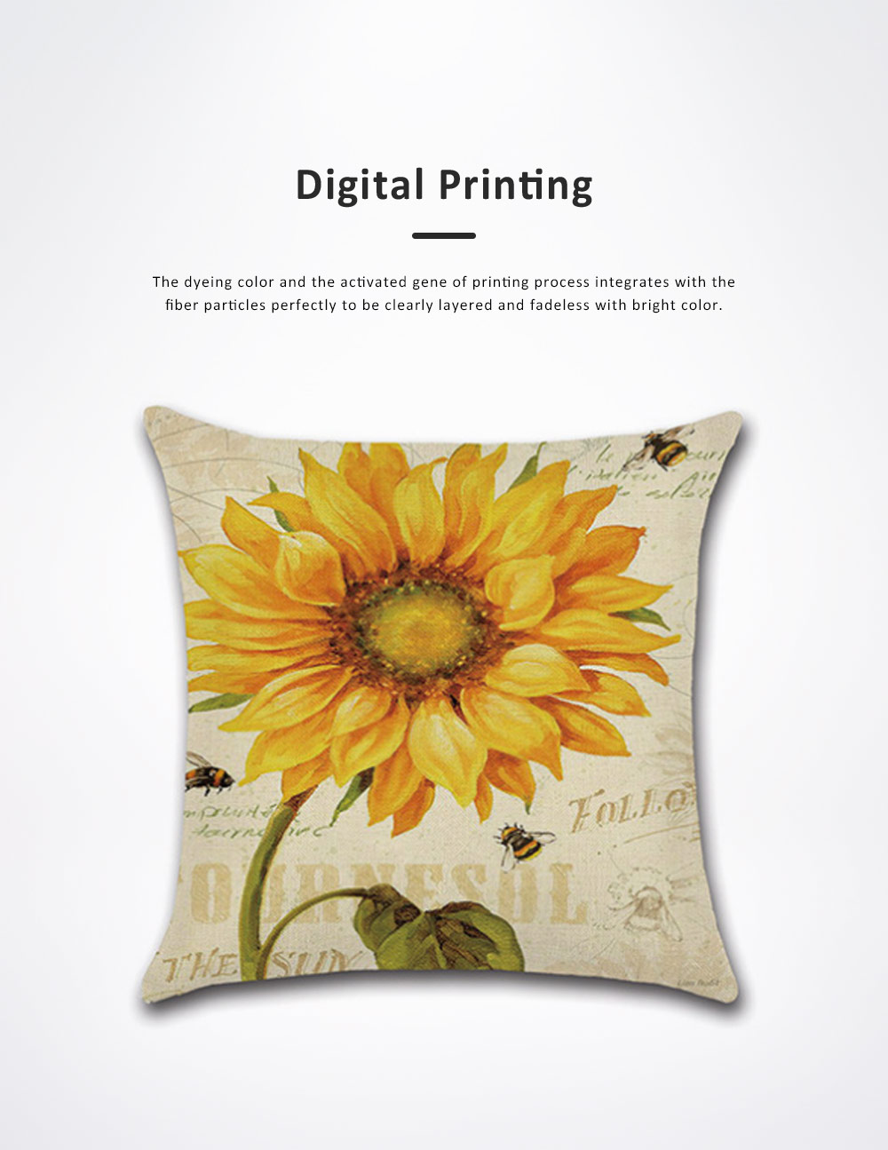Sunflower Series Hand-painted Pillow Case, Back Leaning Cushion Cover for Home, Office, Car Used Pillow Linen Cover 2