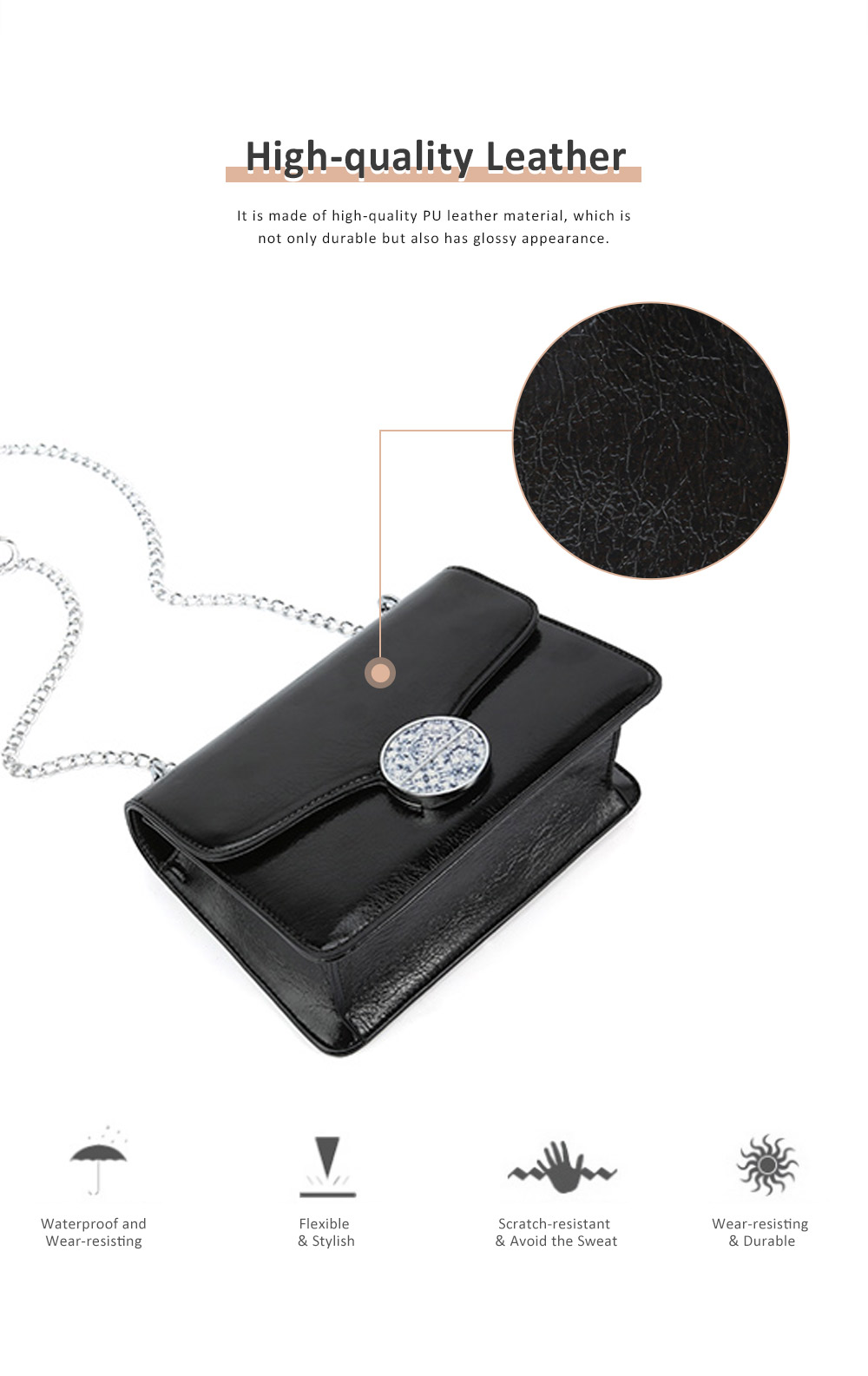 Marble Buckle Metal Chain Square Bag, High-quality PU Leather Handbag with Strap, Black Slanted Straddle Bag Single Shoulder Bag 3