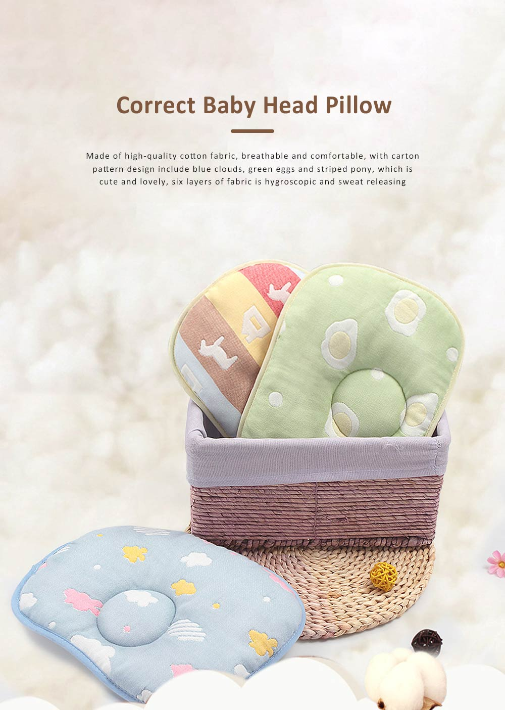 Correct Baby Head Pillow for 0-6 Months Baby, Carton Pattern Six Cotton Layers Finalize Newborn Pillow 0