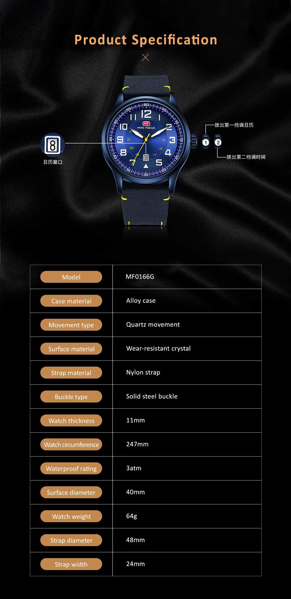 Fashion Japanese Movement Men's Watch, Calendar Luminous Waterproof Watch, Exquisite Nylon Strap Sport Wristwatch 5