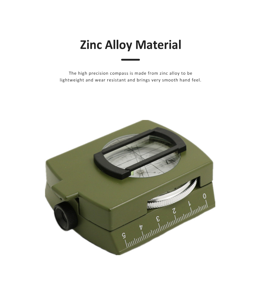 High Precision Compass for Outdoor Use,  American Style Multifunctional Zinc Alloy Made North Arrow Army Green Color Outdoor Equipment 2