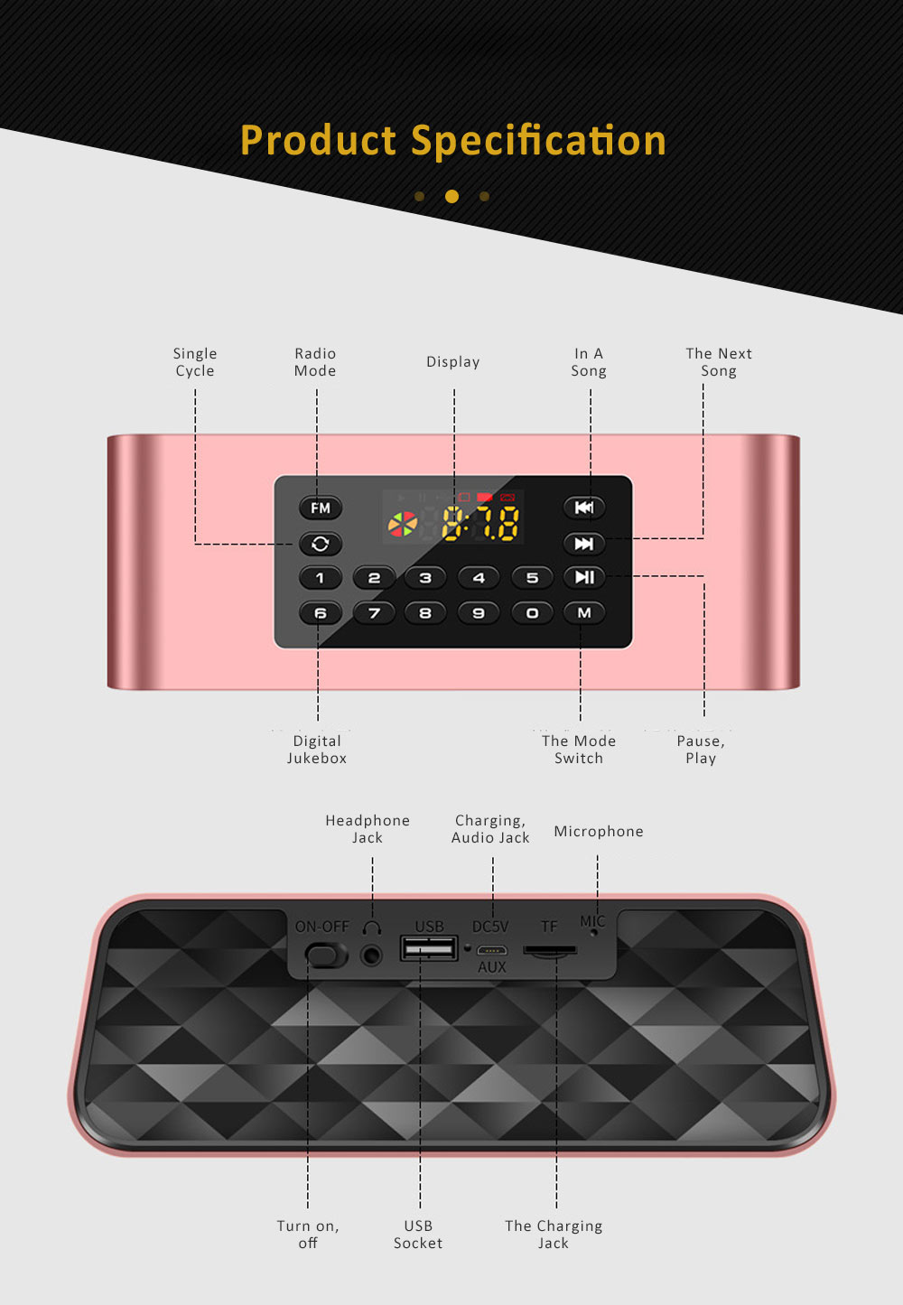 Wireless Bluetooth 5.0 Speaker with Dual Speakers, Bass Card Speaker Support Ultra-long Battery Life for Apps, Computer, Tablets, Phones 15