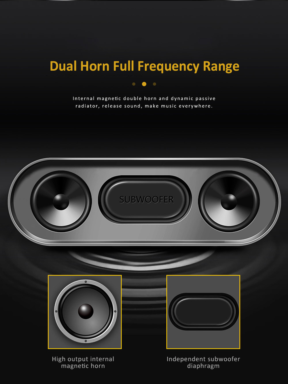 Wireless Bluetooth Speaker with HiFi Sound Quality, Bass Card Speaker Support Ultra-long Battery Life & Compatible with A Variety of Apps 1