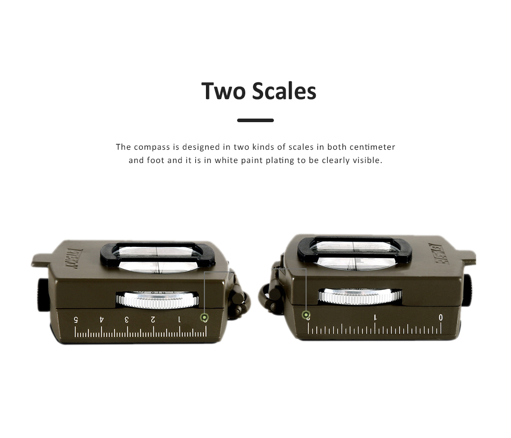 High Precision Compass for Outdoor Use,  American Style Multifunctional Zinc Alloy Made North Arrow Army Green Color Outdoor Equipment 4