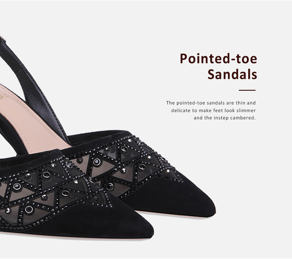 Hollow-out Mesh Stiletto Heel Sandals with Diamond, Daily Wear Back High Heel Sandal Shoes, 2019 All-match Pumps with Kitten Heel 2