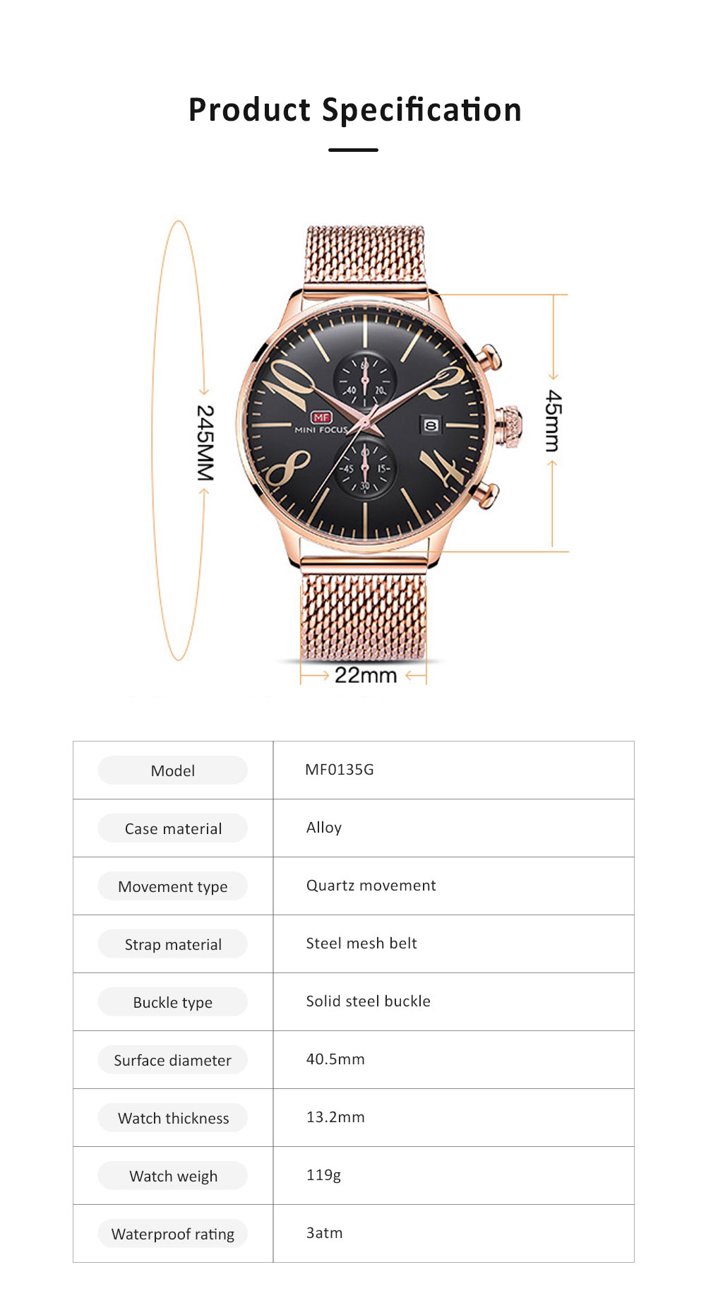 Men's Business Watch, Multi-Function Sports Waterproof Watch, Fashion Chronograph Quartz Watch for Outdoor Width 22mm Length 245mm 5
