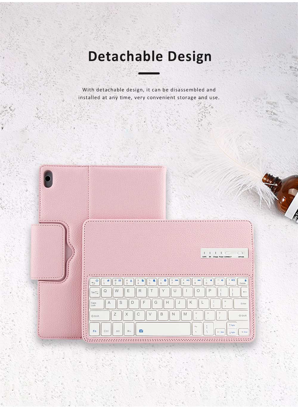 10.1 inch Bluetooth Keyboard with Detachable Leather Case, Scintillation Lamp Function Keyboard for Huawei Honor Waterplay 10'' 2