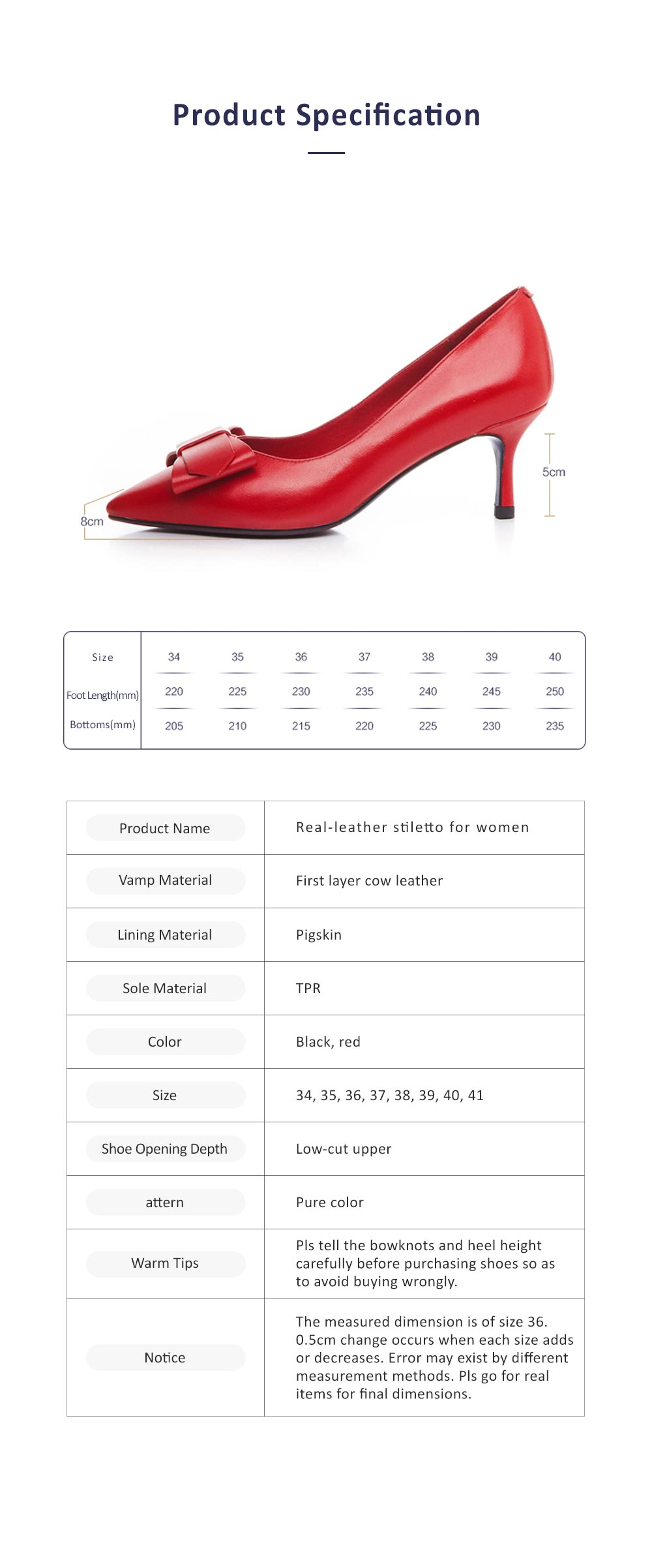 Genuine Leather Stilettos with Low-cut Uppers for Women, 2019 New Korean Style Moderate Kitten Heels Shoes for Wedding, Business, Party 6