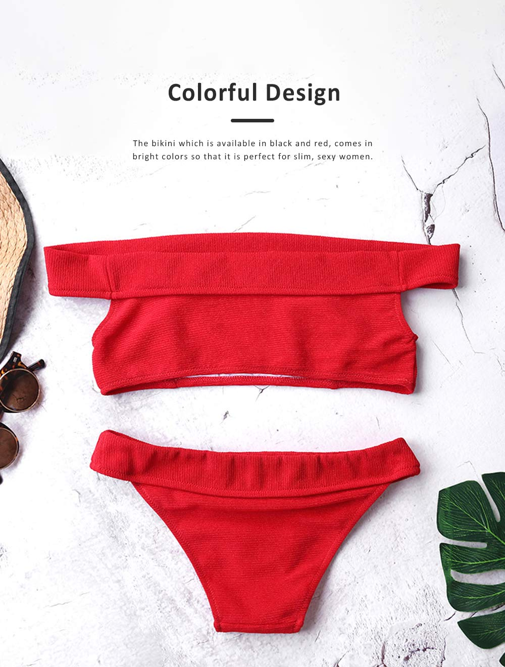 2019 New Hot Off-shoulde Bikini for Women, Two Piece Slim Fit Bikini, Off Shoulder Beach Wear Suit Red Black 4