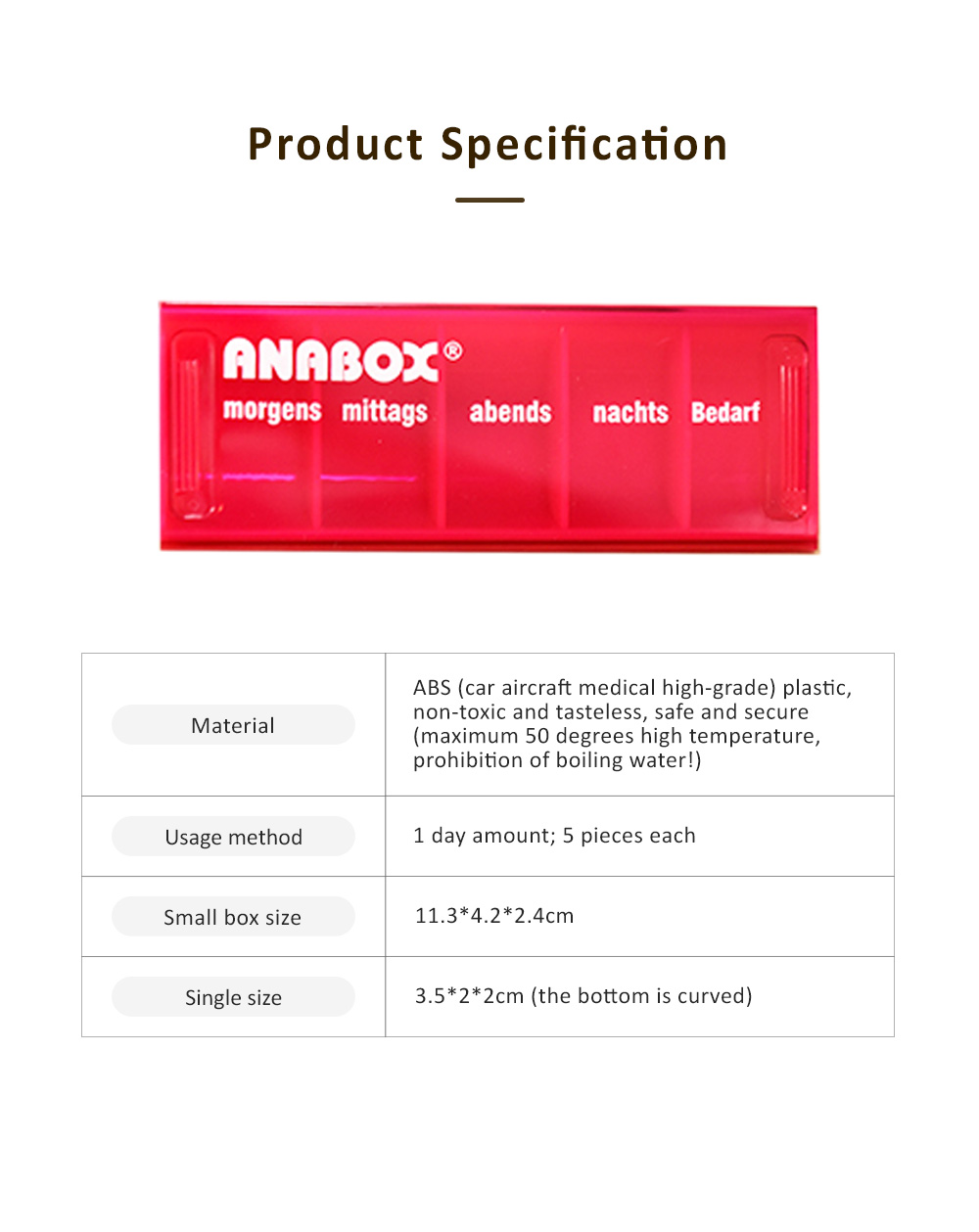 ANABOX Portable Moisture-Proof Small Pill Box Weekly-packed Separate Medical Case 6