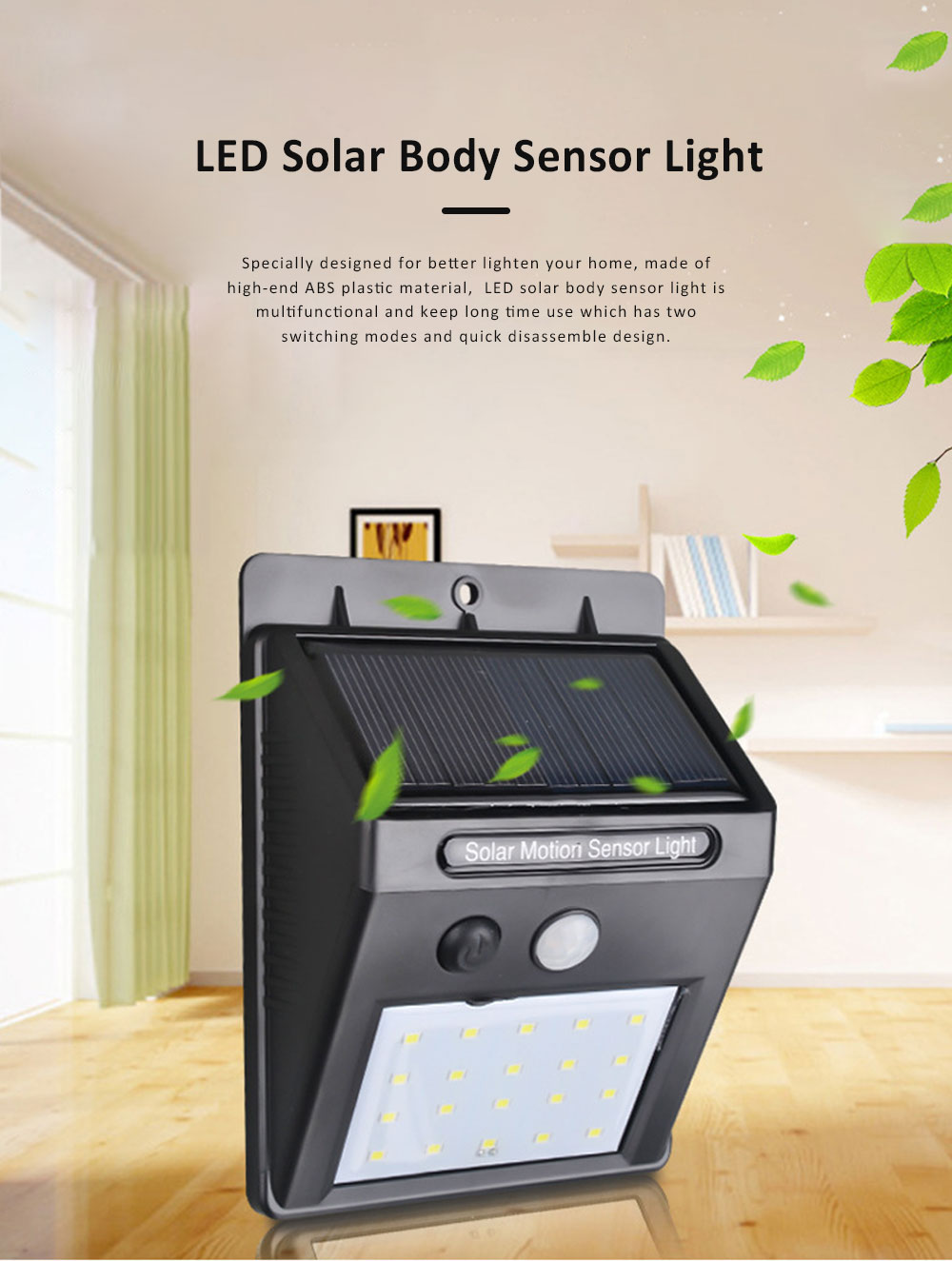 LED Solar Body Sensor Light, Courtyard Light with Two Switching Modes, Quick Disassemble Design LED Light 0