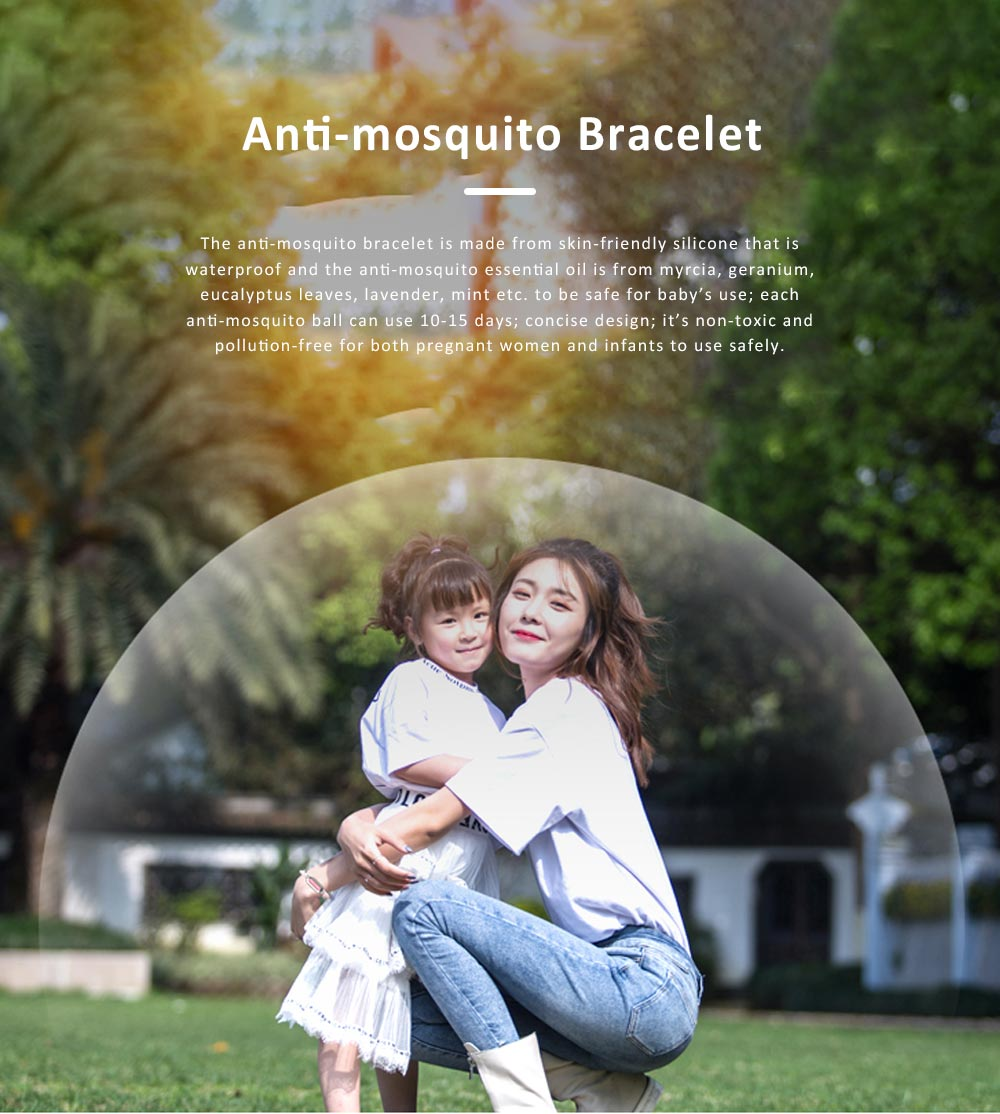 Efficient Plant Essential Oil Mosquito Repellent for Babies, Wrist Wear Anti-mosquito Buckle,  Skin-friendly Anklet Silicone Mosquito Repelling Bracelet 0