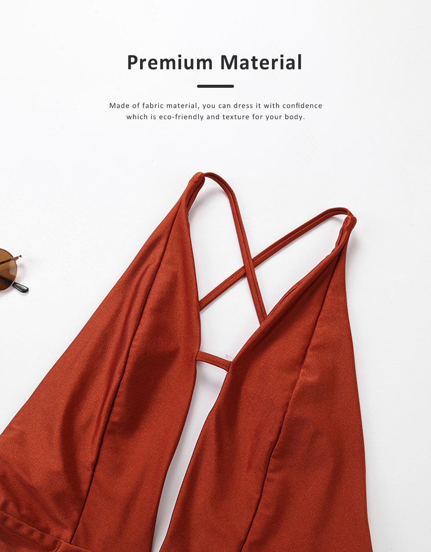 2019 Sexy Cross-strap Backless Bikini for Women , One-piece High Waist Swimwear Adjustable Shoulder Strap Backless Swimming Suit Bikini Red 4