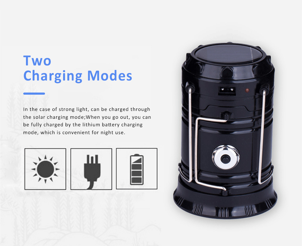 Stretchable Brightened Lantern for Camping, Hinking, Outdoors, Multifunctional Camping Lamp with Removable Hook, Two Charging Modes Lights 1