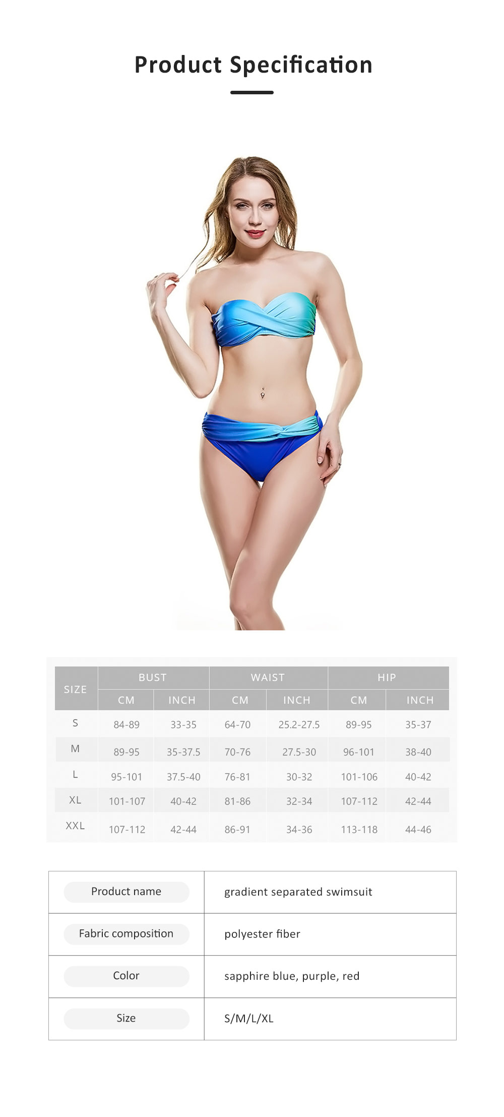 Gradient Separated Swimsuit for Women, Polyester Fiber Two-piece Swimwear, Detachable Shoulder Strap Sexy Bikini 6