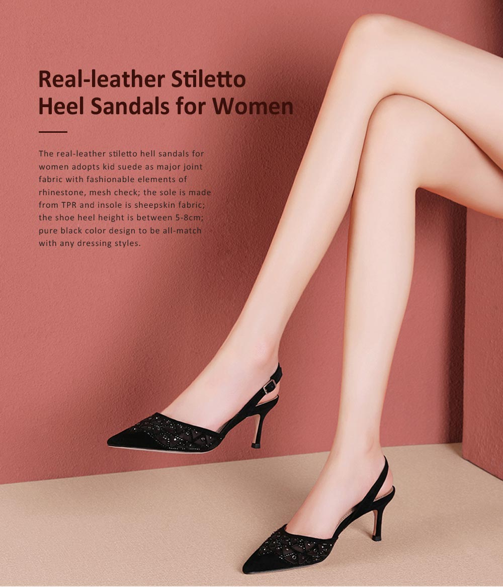 Hollow-out Mesh Stiletto Heel Sandals with Diamond, Daily Wear Back High Heel Sandal Shoes, 2019 All-match Pumps with Kitten Heel 0