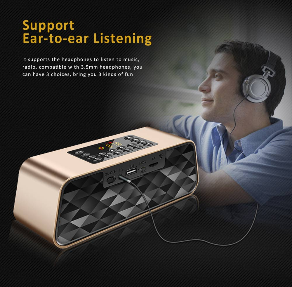 Wireless Bluetooth 5.0 Speaker with Dual Speakers, Bass Card Speaker Support Ultra-long Battery Life for Apps, Computer, Tablets, Phones 10
