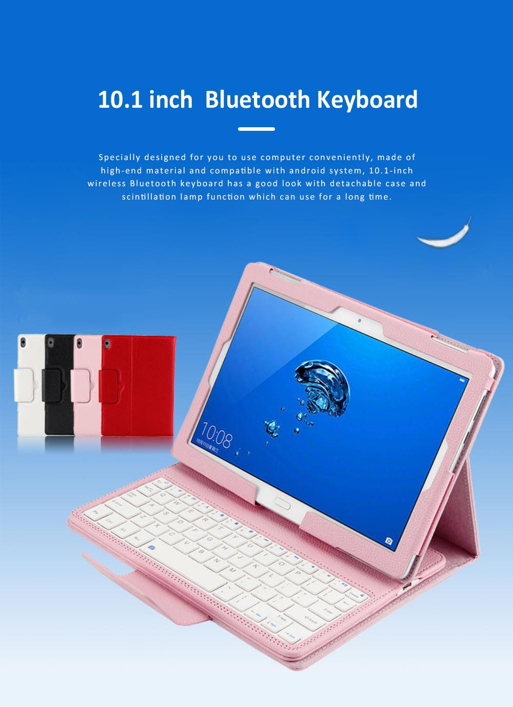10.1 inch Bluetooth Keyboard with Detachable Leather Case, Scintillation Lamp Function Keyboard for Huawei Honor Waterplay 10'' 0