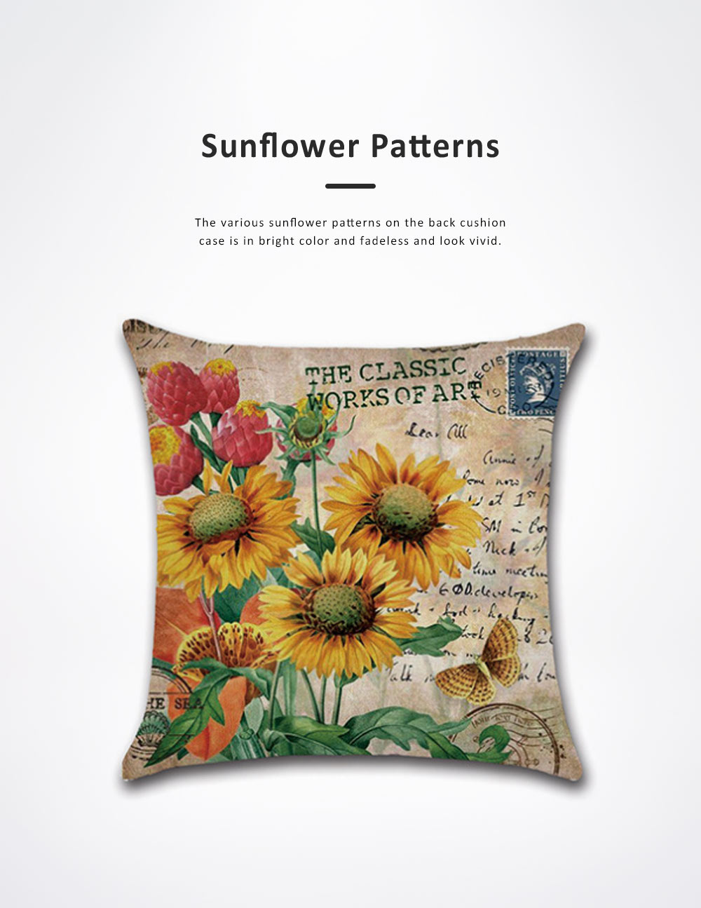 Sunflower Series Hand-painted Pillow Case, Back Leaning Cushion Cover for Home, Office, Car Used Pillow Linen Cover 4