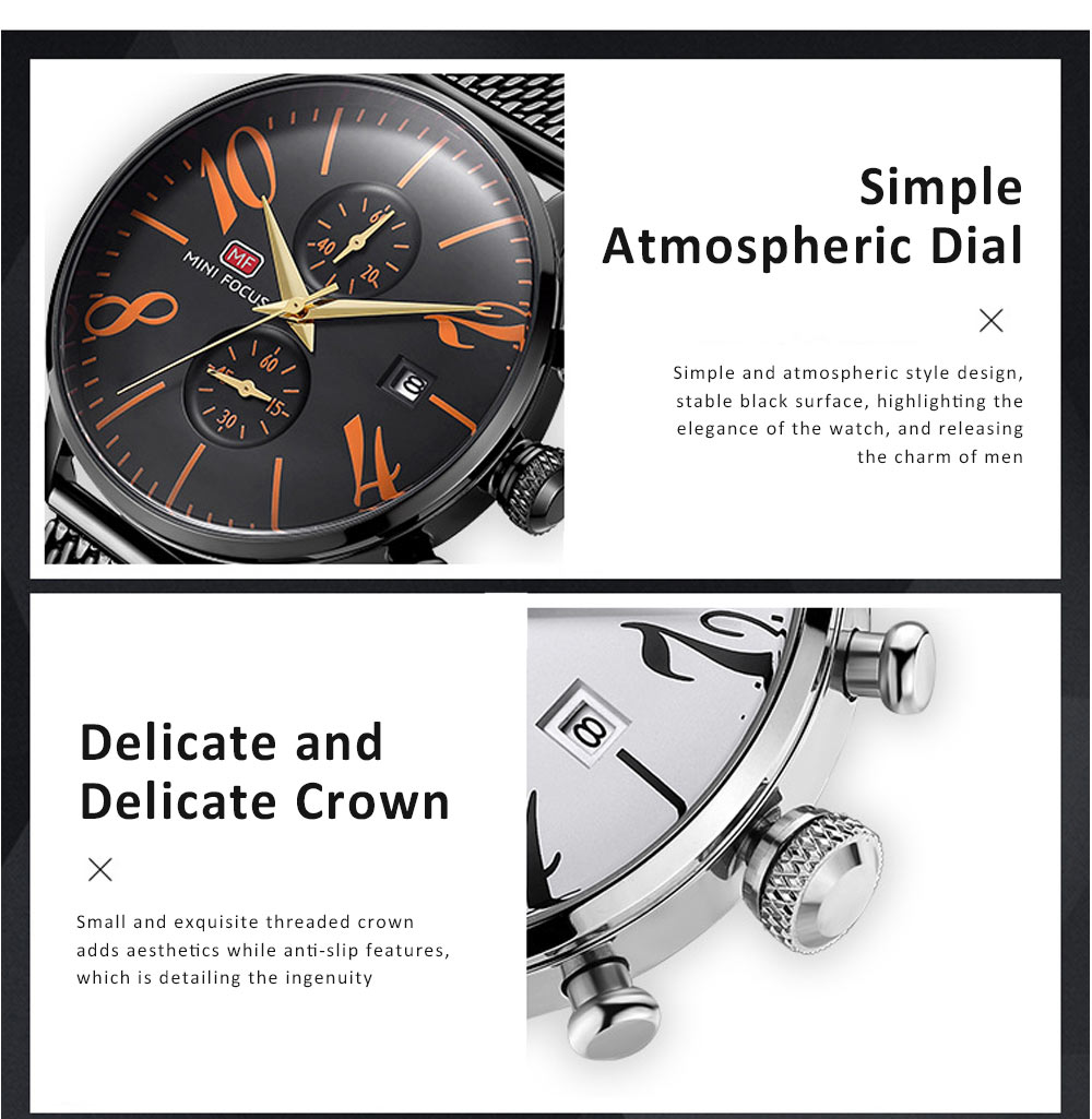 Men's Business Watch, Multi-Function Sports Waterproof Watch, Fashion Chronograph Quartz Watch for Outdoor Width 22mm Length 245mm 3