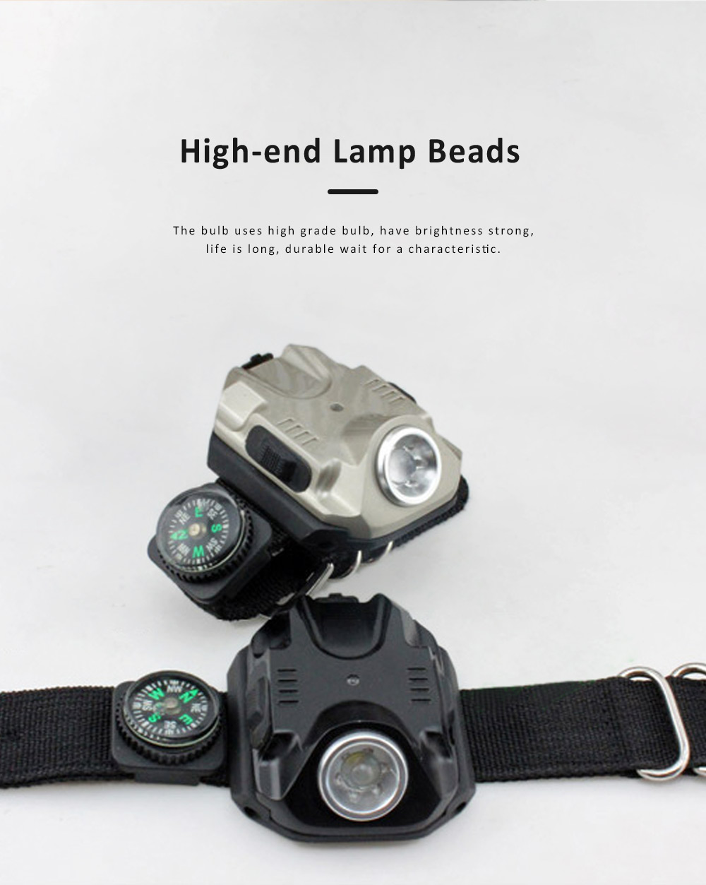 LED Wrist Light for Outdoor Running Camping Hand Flashlight with Compass Power Indicator Wrist Band Light 4