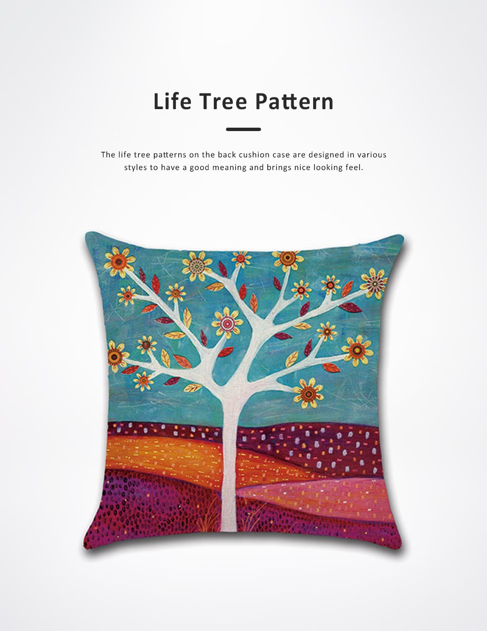 Abstract Tree Pattern Cushion Cover with Digital Printing, Skin-friendly Back Cushion Case for Vehicles, Sofa, Office Pillow Case 4