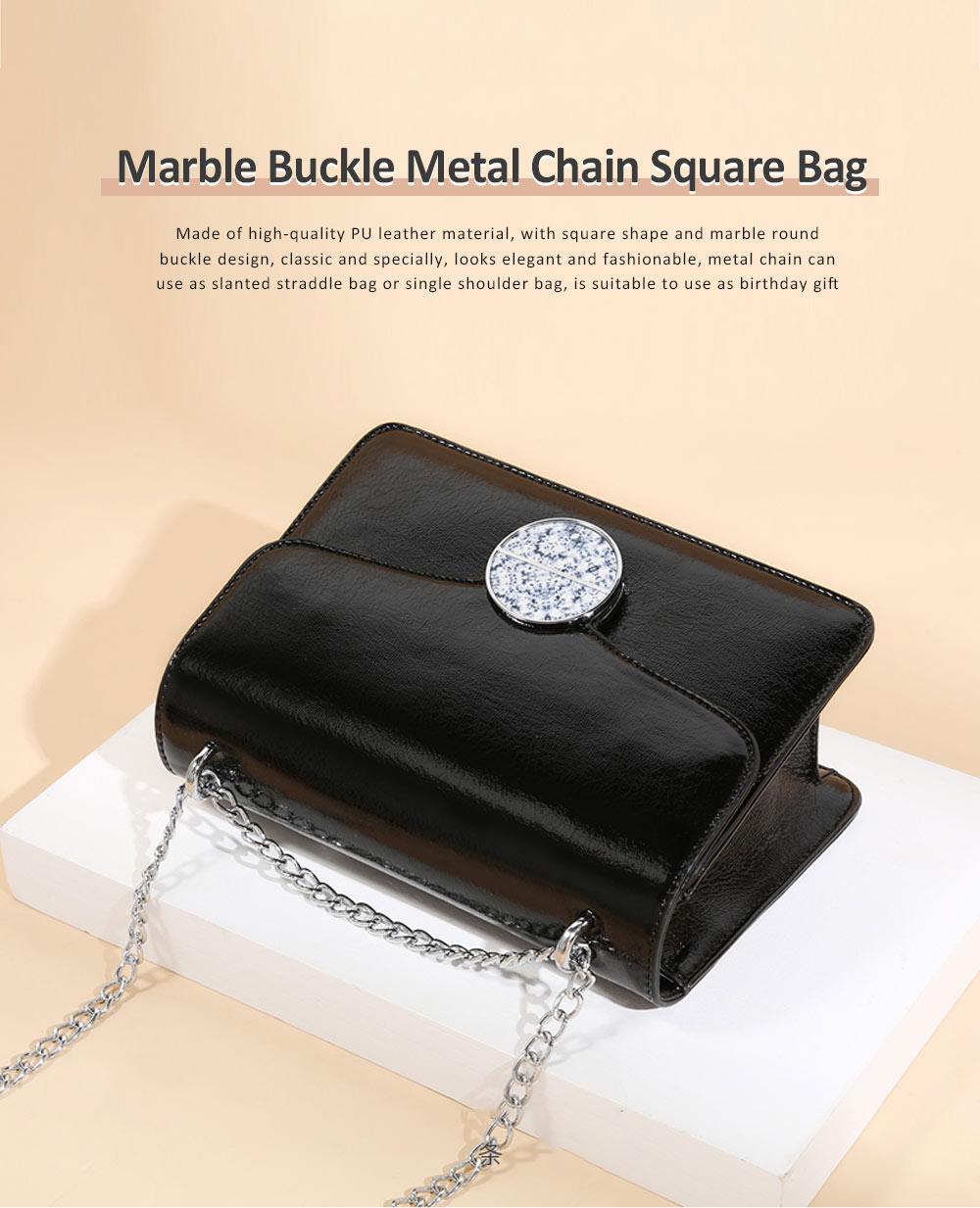 Marble Buckle Metal Chain Square Bag, High-quality PU Leather Handbag with Strap, Black Slanted Straddle Bag Single Shoulder Bag 0