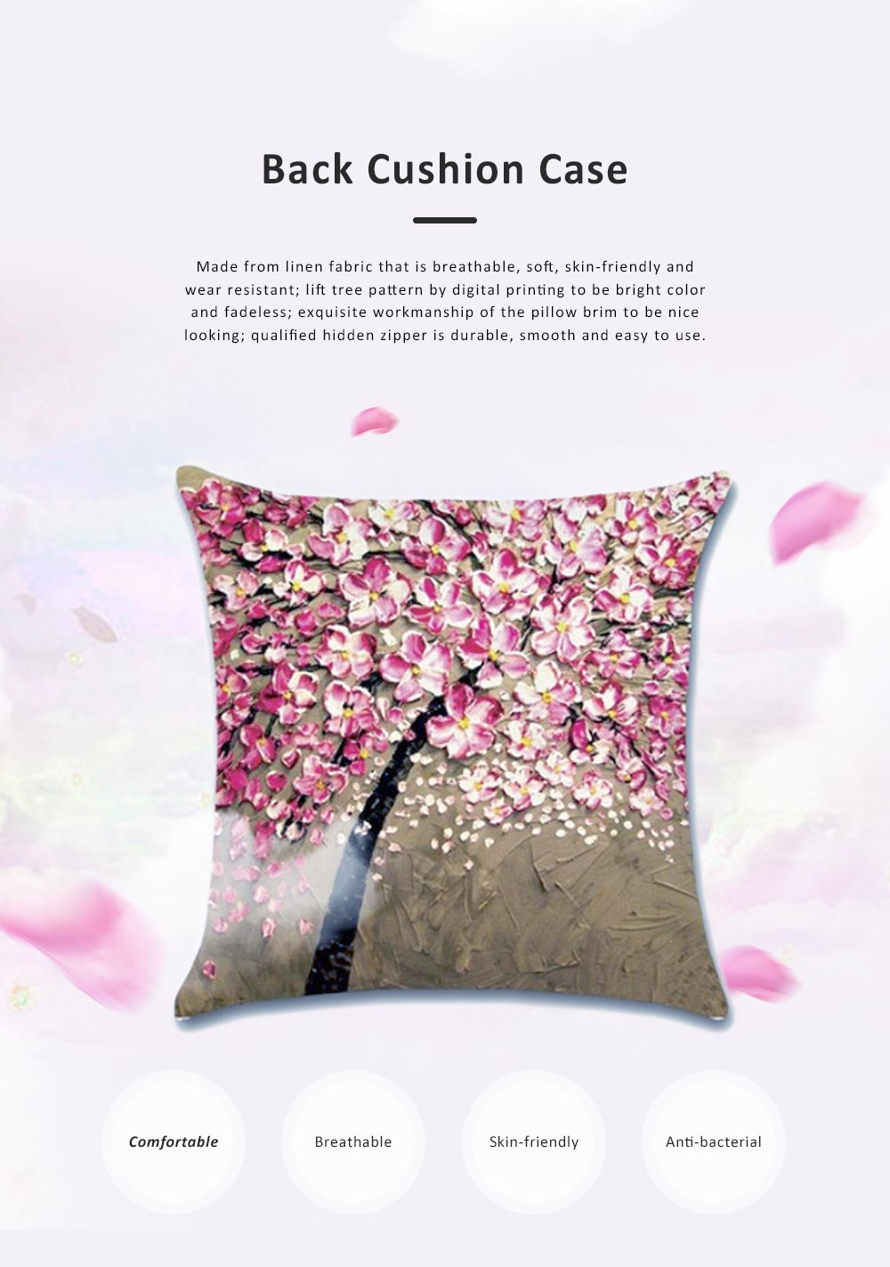Pillowcase for Car, Office, Sofa, Back Cushion Case with Three-Dimensional Oil Painting Pachira Macrocarpa Flower, Tree Pattern Linen Back Cushion Cover 0