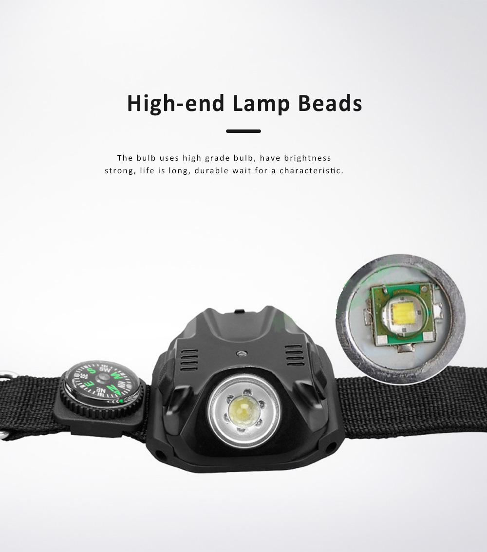 LED Wrist Light for Outdoor Running Camping Hand Flashlight with Compass Power Indicator Wrist Band Light 2