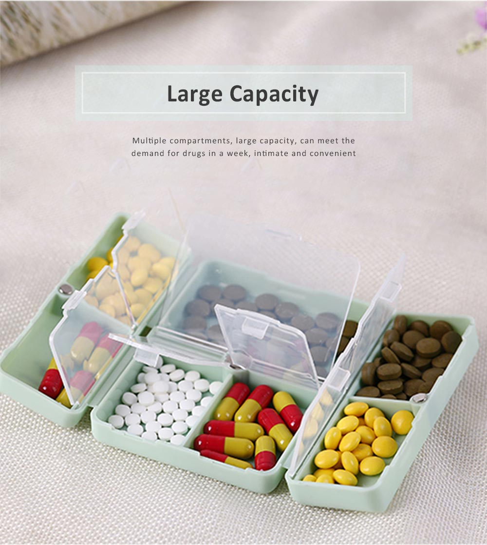 Mini Portable Medicine Box, Medicine Classification Storage Box, Moisture-proof Convenient Carry Classification Box 3