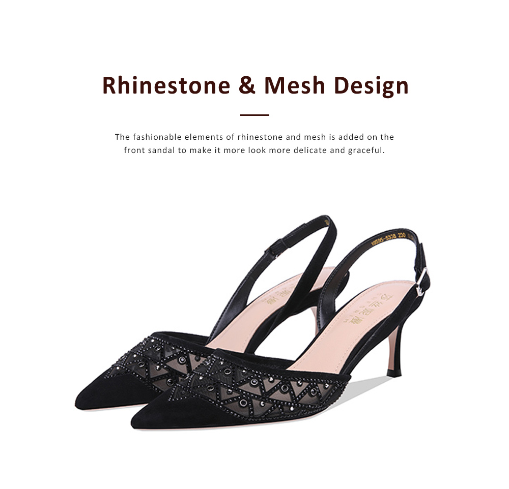Hollow-out Mesh Stiletto Heel Sandals with Diamond, Daily Wear Back High Heel Sandal Shoes, 2019 All-match Pumps with Kitten Heel 1