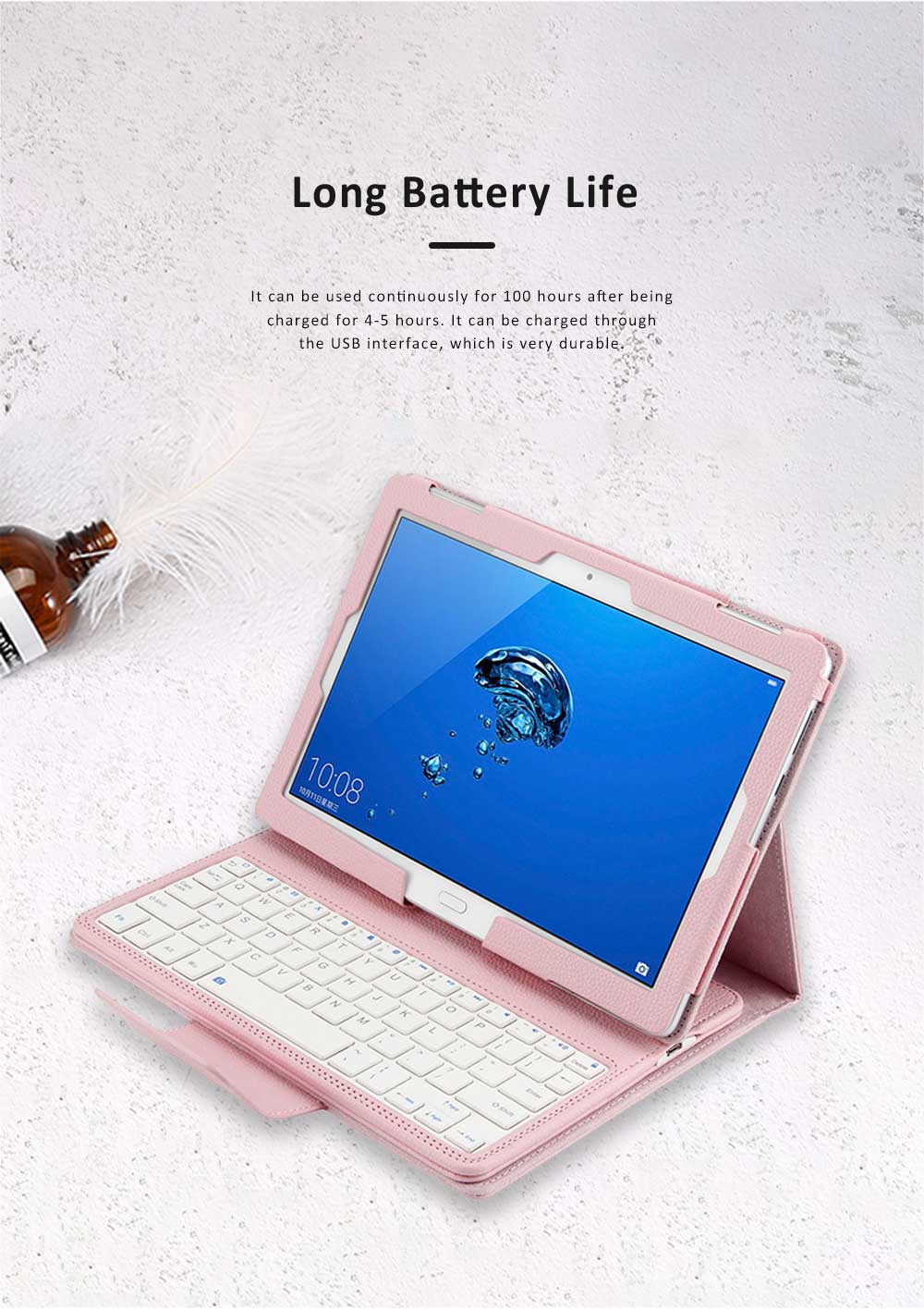 10.1 inch Bluetooth Keyboard with Detachable Leather Case, Scintillation Lamp Function Keyboard for Huawei Honor Waterplay 10'' 4