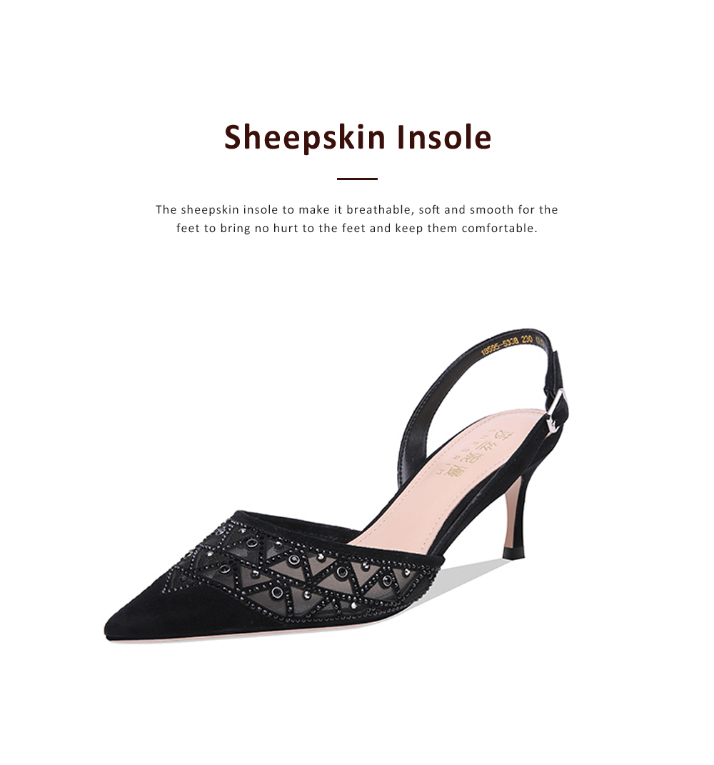 Hollow-out Mesh Stiletto Heel Sandals with Diamond, Daily Wear Back High Heel Sandal Shoes, 2019 All-match Pumps with Kitten Heel 3