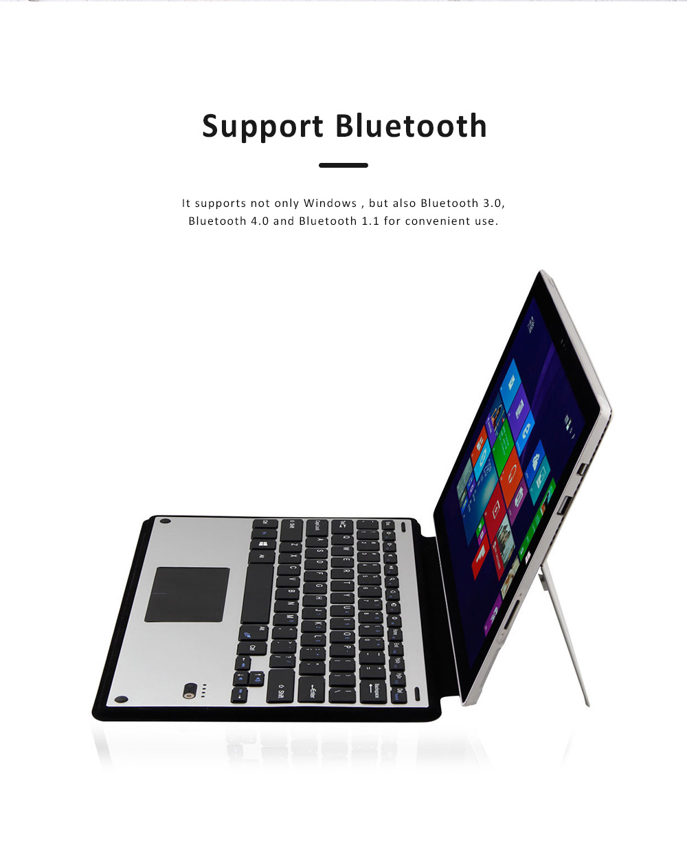 Ultra-thin Touch Control Wireless Bluetooth Keyboard for Microsoft Surface Pro3 Pro 4, Office Home Use Aluminum Alloy Wireless Keyboard 12.2 inch  3