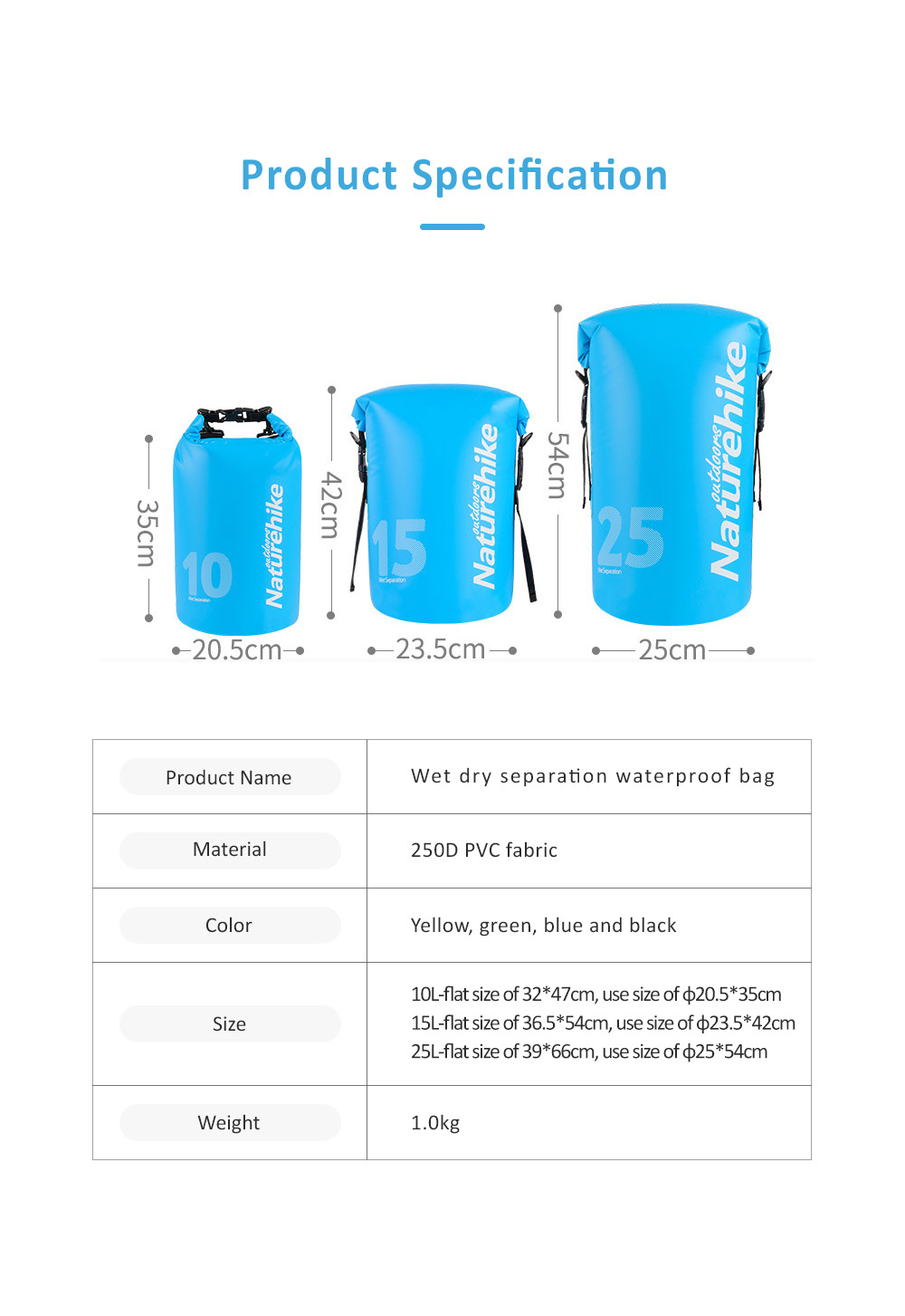 Wet Dry Separation Waterproof Bag for Outdoor Activities, Floating, Swimming, Diving, Beach Used Showerproof Large-capacity Storage Bag 7