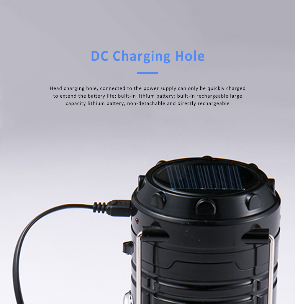Stretchable Brightened Lantern for Camping, Hinking, Outdoors, Multifunctional Camping Lamp with Removable Hook, Two Charging Modes Lights 4