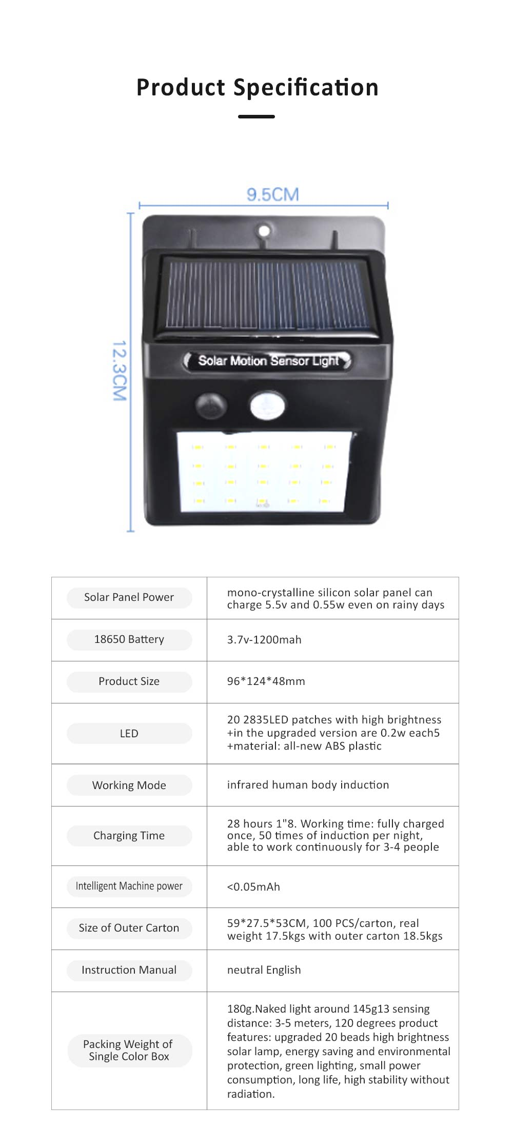 LED Solar Body Sensor Light, Courtyard Light with Two Switching Modes, Quick Disassemble Design LED Light 7