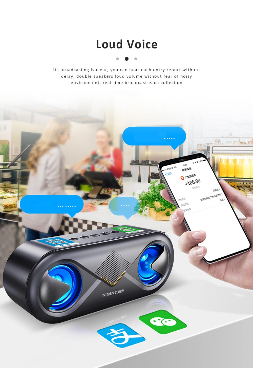 Cellular Wireless Bluetooth Speaker, Portable Desktop Home Speaker, Bionic Eye Design Subwoofer with Alarm Clock 3