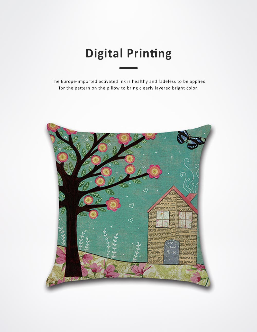 Abstract Tree Pattern Cushion Cover with Digital Printing, Skin-friendly Back Cushion Case for Vehicles, Sofa, Office Pillow Case 2