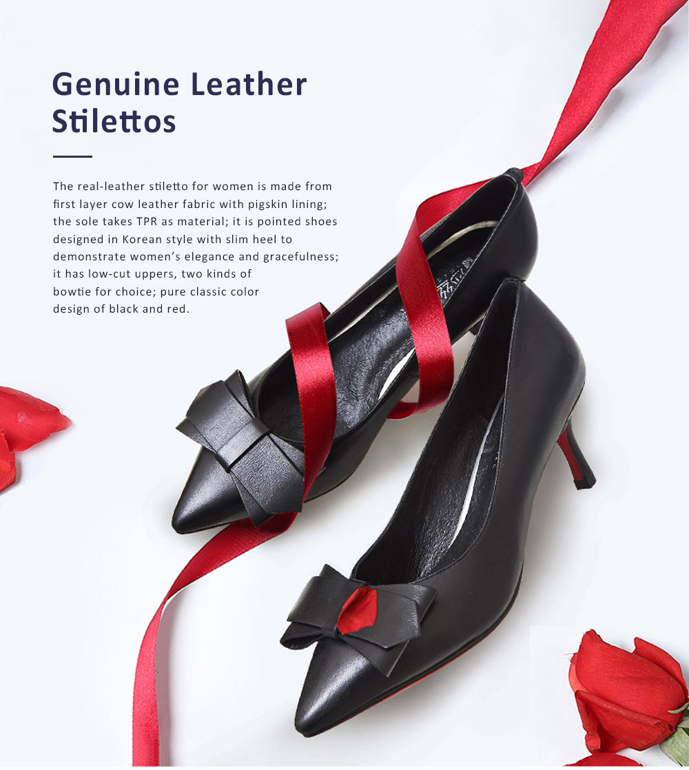 Genuine Leather Stilettos with Low-cut Uppers for Women, 2019 New Korean Style Moderate Kitten Heels Shoes for Wedding, Business, Party 0