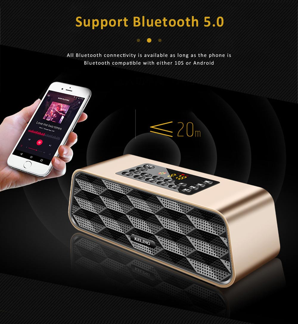 Wireless Bluetooth 5.0 Speaker with Dual Speakers, Bass Card Speaker Support Ultra-long Battery Life for Apps, Computer, Tablets, Phones 4