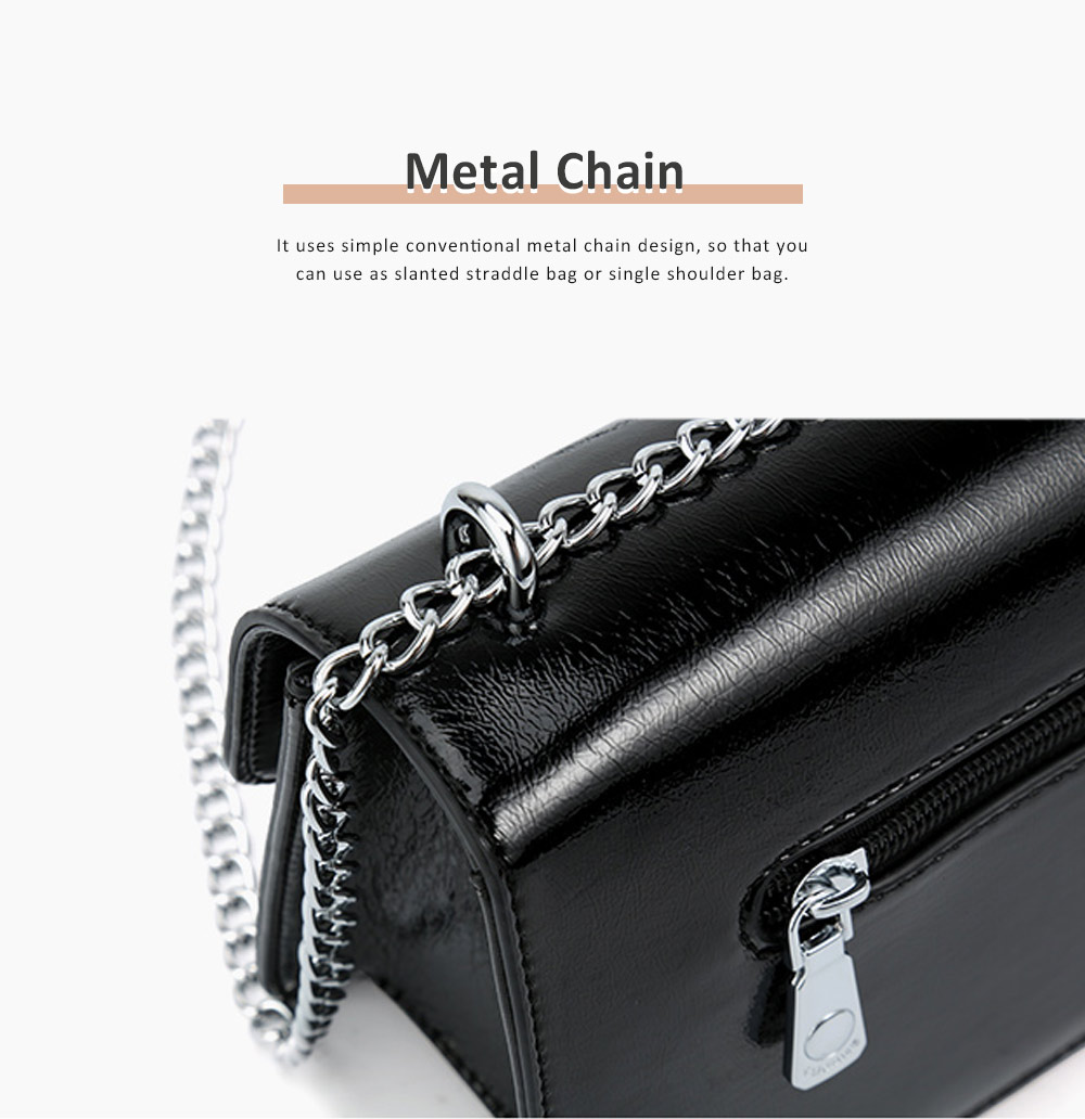Marble Buckle Metal Chain Square Bag, High-quality PU Leather Handbag with Strap, Black Slanted Straddle Bag Single Shoulder Bag 4
