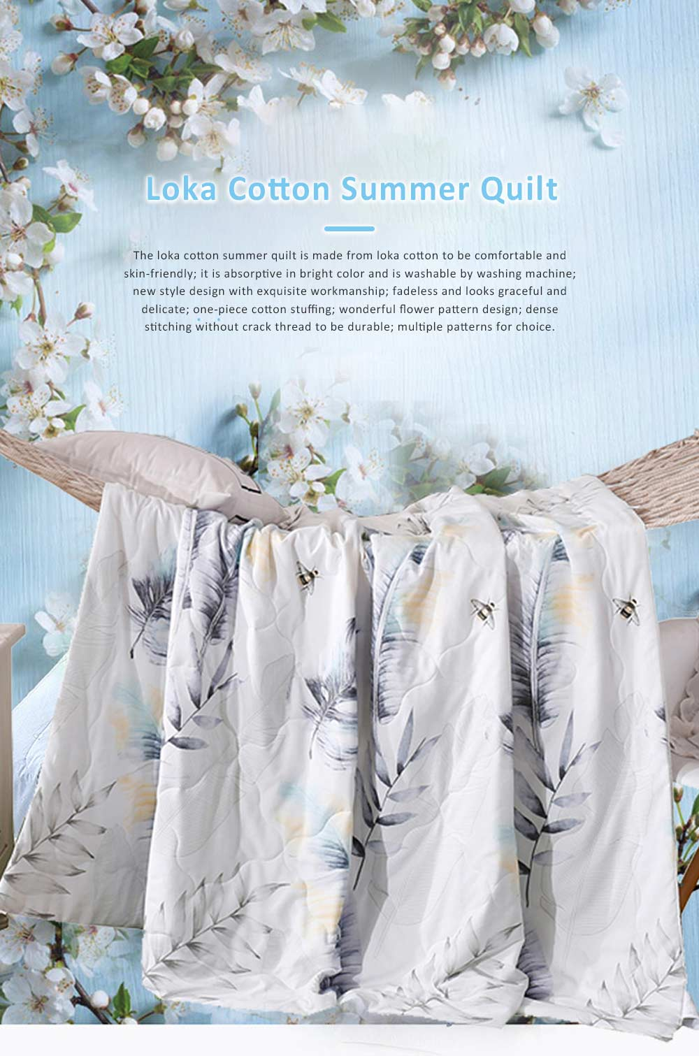 Washable Breathable Cotton Summer Quilt with Fadeless Printing, Skin-friendly Blankets for Air Conditioning Summer Quilt 0