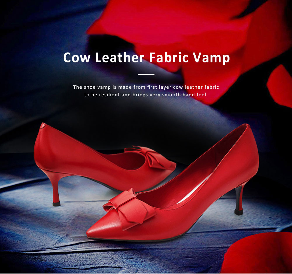 Genuine Leather Stilettos with Low-cut Uppers for Women, 2019 New Korean Style Moderate Kitten Heels Shoes for Wedding, Business, Party 4