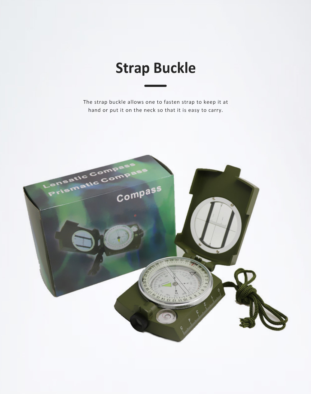High Precision Compass for Outdoor Use,  American Style Multifunctional Zinc Alloy Made North Arrow Army Green Color Outdoor Equipment 3