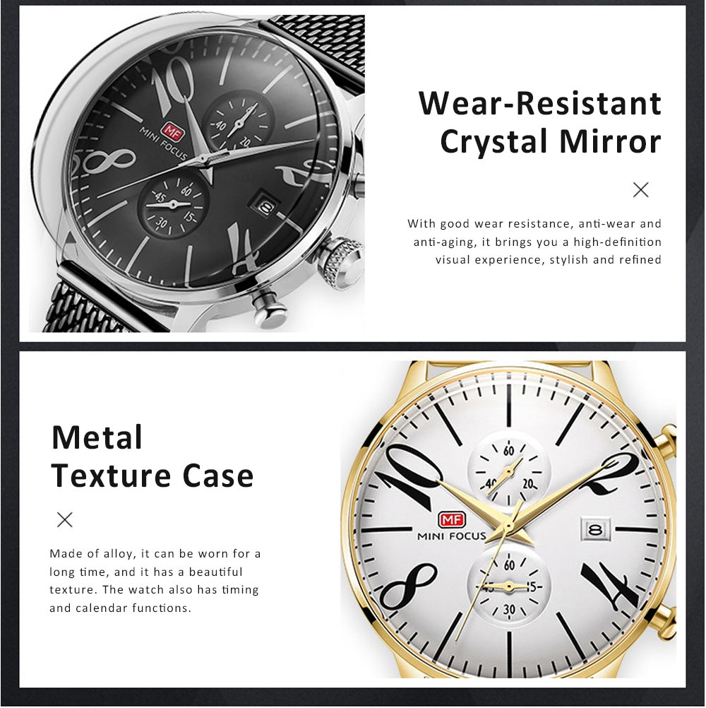 Men's Business Watch, Multi-Function Sports Waterproof Watch, Fashion Chronograph Quartz Watch for Outdoor Width 22mm Length 245mm 4