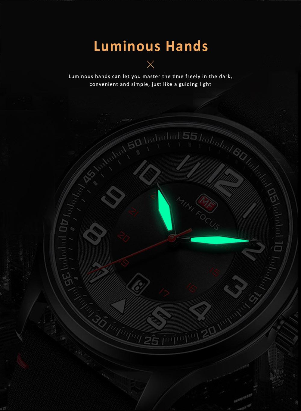 Fashion Japanese Movement Men's Watch, Calendar Luminous Waterproof Watch, Exquisite Nylon Strap Sport Wristwatch 1