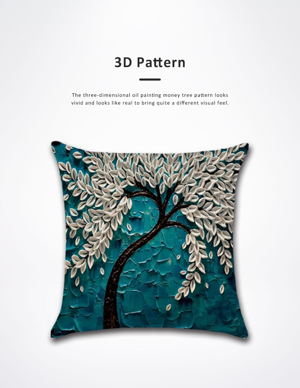 Pillowcase for Car, Office, Sofa, Back Cushion Case with Three-Dimensional Oil Painting Pachira Macrocarpa Flower, Tree Pattern Linen Back Cushion Cover 4