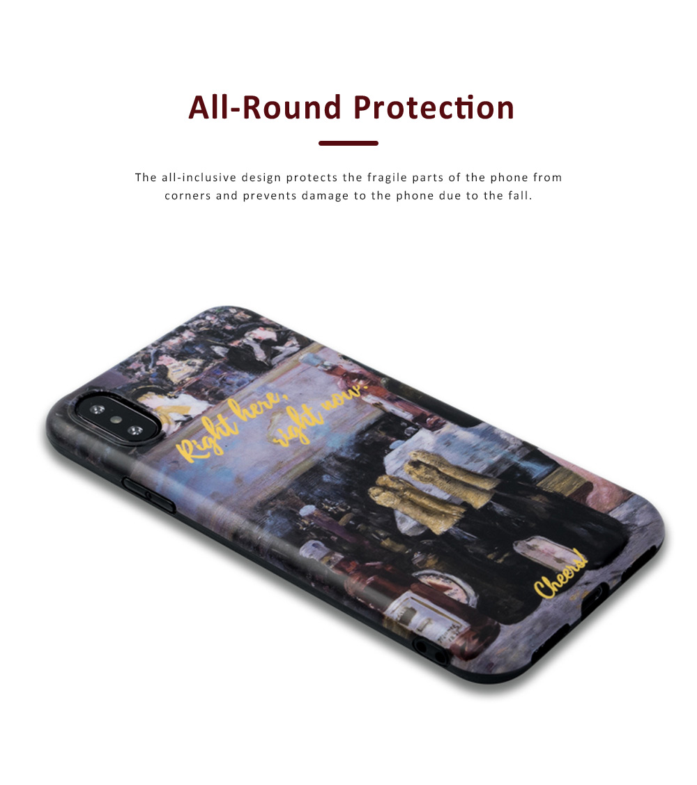 Oil Painting Bottle Apple Mobile Phone Case, Retro All-Inclusive Soft Shell for iPhone Max, iPhone XS, 8 plus, 6s, 7 plus, X, 6 1