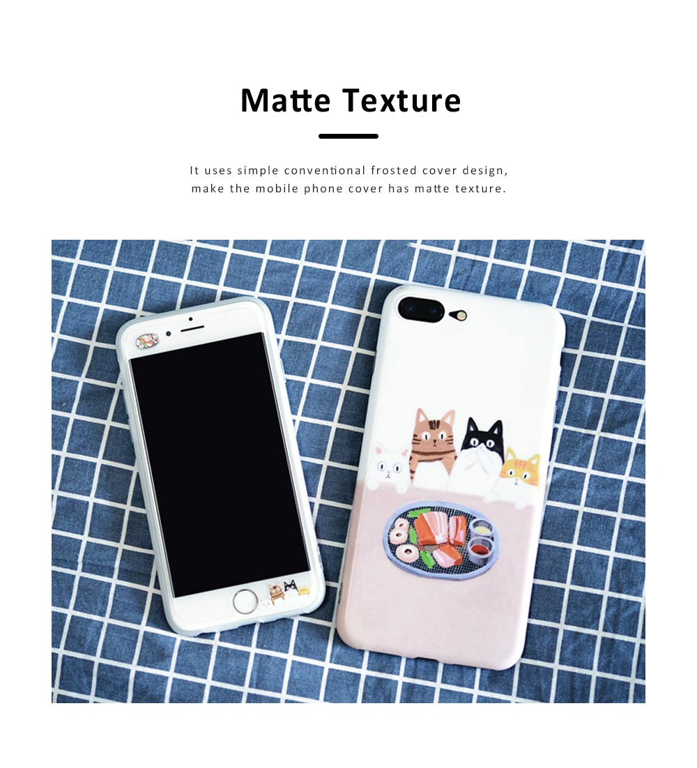 Foodie Cat Phone Cover for iPhone, with TPU Material, Four Cats Stared At the Food Cute Mobile Phone Shell 5